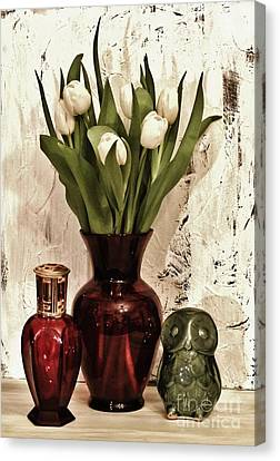 Classy Tulips Bouquet Canvas Print by Marsha Heiken