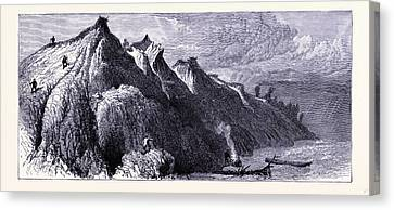 Clay Cliffs On The Shore Of Lake Michigan United States Canvas Print