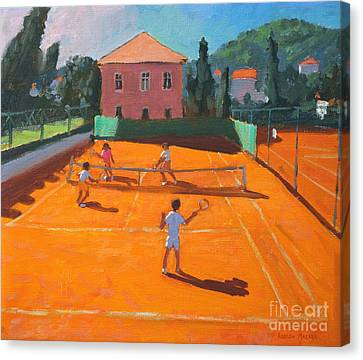 Racquet Canvas Print - Clay Court Tennis by Andrew Macara