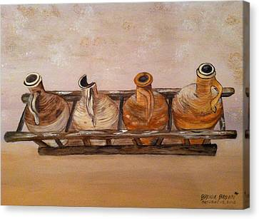 Clay Jugs In A Row Canvas Print by Brenda Brown