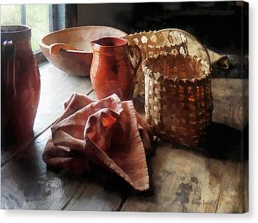 Kitchen Canvas Print - Clay Pitchers Bowl And Baskets by Susan Savad