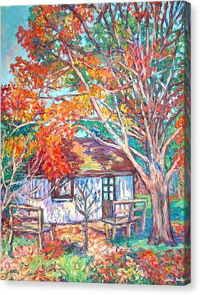 Claytor Lake Cabin In Fall Canvas Print by Kendall Kessler