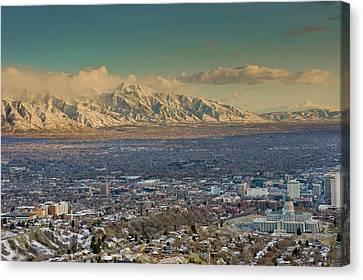 Clean Air From Ensign Peak Area Looking Canvas Print by Howie Garber