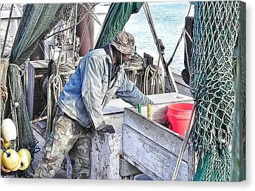 Cleaning Up After The Haul Canvas Print by Patricia Greer