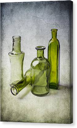 Clear Green Bottles Canvas Print by Garry Gay