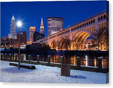 Clear Sky Cleveland Winter Canvas Print by Clint Buhler