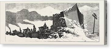 Clearing Snow Block  How They Do It In America Canvas Print