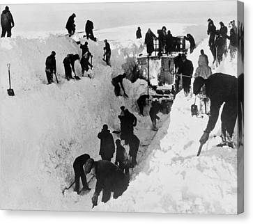 Terminal Canvas Print - Clearing Snow For Trains by Underwood Archives