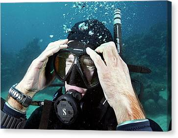 Clearing Water-filled Diving Mask Canvas Print