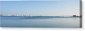 Clearwater Beach - Bridge To Bridge Panorama Canvas Print by Bill Cannon