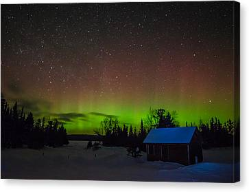 Clearwater Lake Aurora Canvas Print by David Johnson