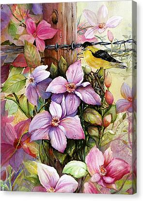 Canvas Print featuring the painting Clematis Vine And Goldfinch by Patricia Schneider Mitchell