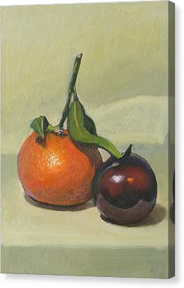 Clementine And Plum Canvas Print by Peter Orrock