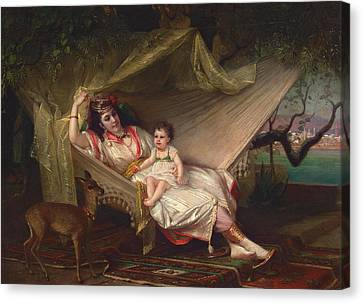 Clementine Stora And Her Daughter Lucie Canvas Print by Constant Joseph Brochart