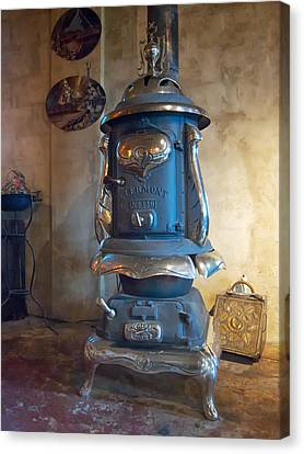 Canvas Print featuring the photograph Clermont No 136 Pot Belly Stove by Mary Lee Dereske