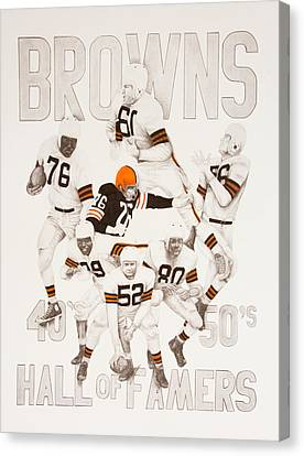 Cleveland Browns 40's To 50's Hall Of Famers Canvas Print by Joe Lisowski