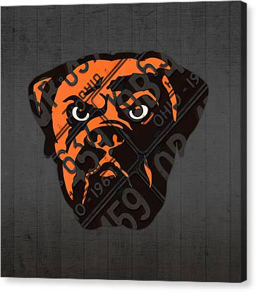 Cleveland Browns Football Team Retro Logo Ohio License Plate Art Canvas Print by Design Turnpike
