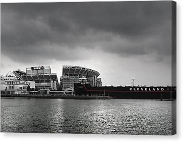 Cleveland Browns Stadium From The Inner Harbor Canvas Print by Kenneth Krolikowski