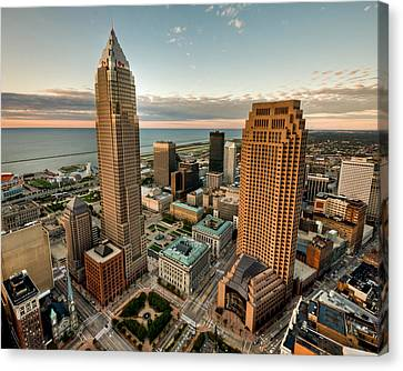 Canvas Print featuring the photograph Cleveland From A Birds Eye View by Brent Durken