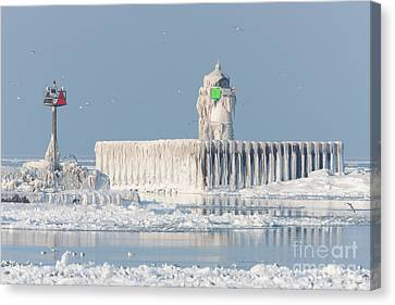 Ice Formations Canvas Print - Cleveland Harbor East Pierhead Light by Clarence Holmes