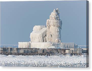 Ice Formations Canvas Print - Cleveland Harbor West Pierhead Light by Clarence Holmes