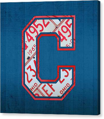 Cleveland Indians Baseball Team Vintage Logo Recycled Ohio License Plate Art Canvas Print by Design Turnpike