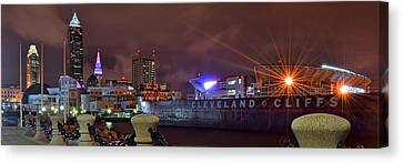 Cleveland Lakefront Night Panorama Canvas Print by Frozen in Time Fine Art Photography