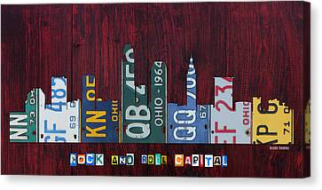 Cleveland Ohio City Skyline License Plate Art On Wood Canvas Print by Design Turnpike