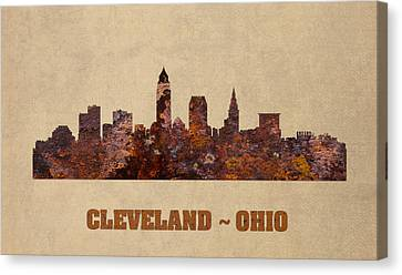 Cleveland Ohio City Skyline Rusty Metal Shape On Canvas Canvas Print by Design Turnpike