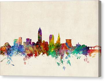 Silhouettes Canvas Print - Cleveland Ohio Skyline by Michael Tompsett