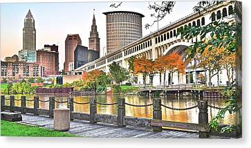 Cleveland Panorama Over The Cuyahoga Canvas Print by Frozen in Time Fine Art Photography