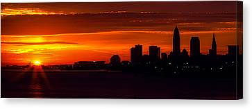 Cleveland Silhouette Canvas Print by Dale Kincaid