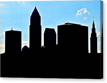 Cleveland Silhouetted Canvas Print by Frozen in Time Fine Art Photography