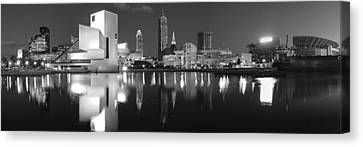 Urban Scenes Canvas Print - Cleveland Skyline At Dusk Black And White by Jon Holiday