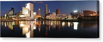 Roll Canvas Print - Cleveland Skyline At Dusk by Jon Holiday