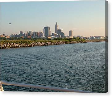 Cleveland Skyline From Blimp To Stadium Canvas Print by Liz Copic