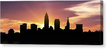 Cleveland Skyline Panorama Sunset Canvas Print by Aged Pixel