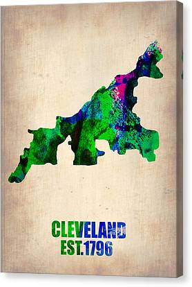 Cleveland Watercolor Map Canvas Print by Naxart Studio