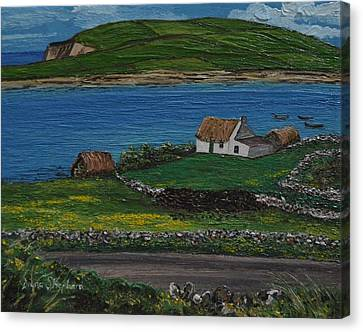 Clifden Thatched Cottage Sky Road Connemara Ireland Canvas Print by Diana Shephard