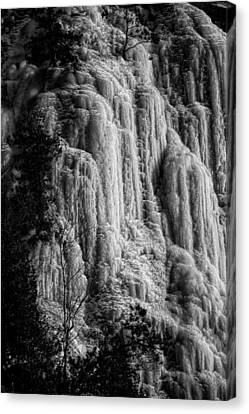 Cliff Ice In Black And White Canvas Print by Robert Knight