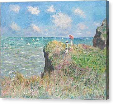 Sailboat Ocean Canvas Print - Cliff Walk At Pourville by Claude Monet