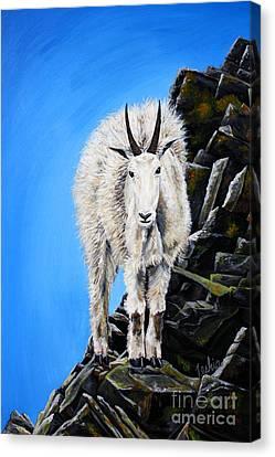 Mountain Goat Canvas Print - Cliffhanger by Teshia Art