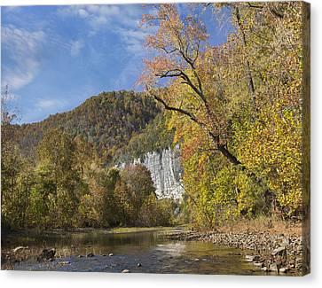 Cliffs And River Roark Bluff Buffalo Canvas Print by Tim Fitzharris