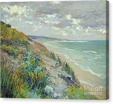 Beach Canvas Print - Cliffs By The Sea At Trouville  by Gustave Caillebotte
