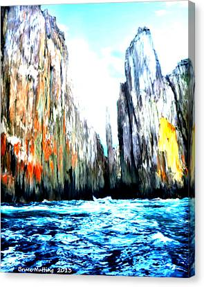 Canvas Print featuring the painting Cliffs By The Sea by Bruce Nutting