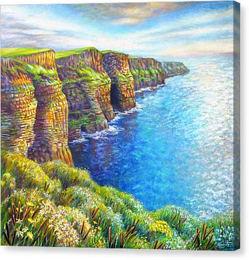Canvas Print featuring the painting Cliffs Of Moher by Nancy Tilles