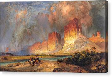 Cliffs Of The Upper Colorado River-- Wyoming Territory Canvas Print by Thomas Moran