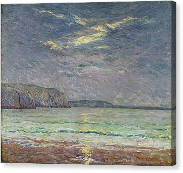 Cliffs With Setting Sun Oil On Canvas Canvas Print by Maxime Emile Louis Maufra
