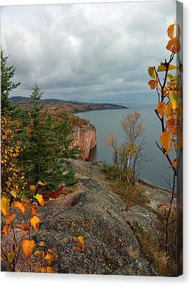 Canvas Print featuring the photograph Cliffside Fall Splendor by James Peterson