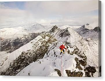 Climber On Sgurr Alasdair Canvas Print by Ashley Cooper